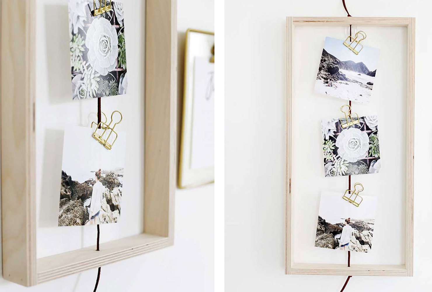 DIY wood frame with photos and gold clothespins.