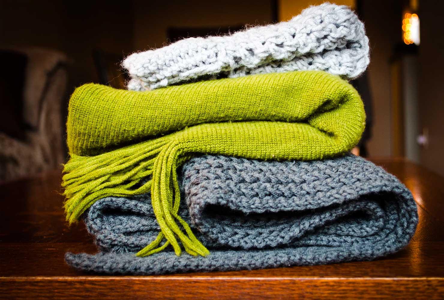 Handknit blankets.